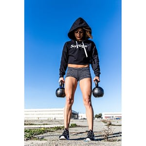 Crop Savage Barbell Hoodie Black