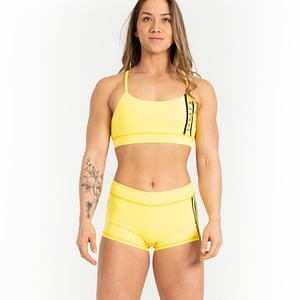 Low Rise Booty Shorts - Viper Yellow - Savage Barbell