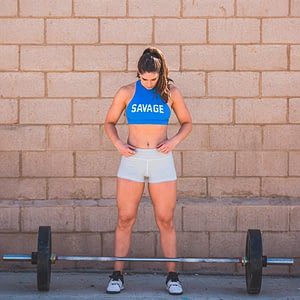 Sports Bra High Neck Blue - Savage Barbell