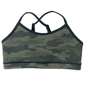 Varsity Sports Bra Green Camo - Savage Barbell