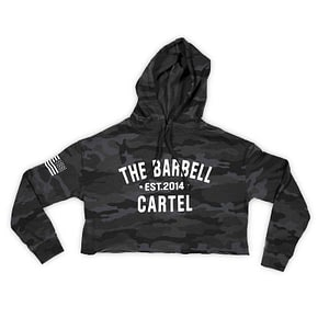 Crop Hoodie Camo Black - The Barbell CartelCrop Hoodie Camo Black - The Barbell Cartel