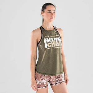Top Halter Never Give Up Green – Titan Box Wear