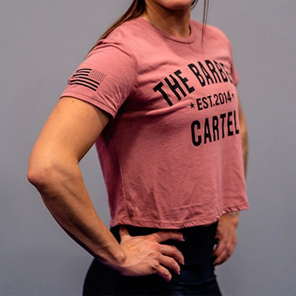 The Barbell Cartel Classic Logo Cropped T-Shirt Brick