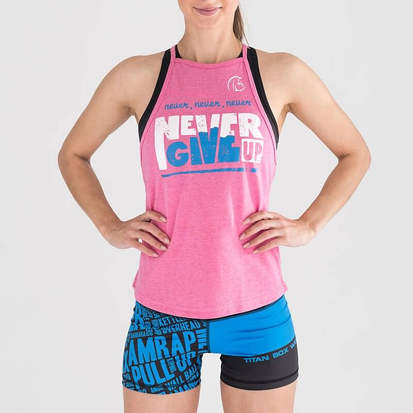 Top Halter Never Give Up Pink – Titan Box Wear